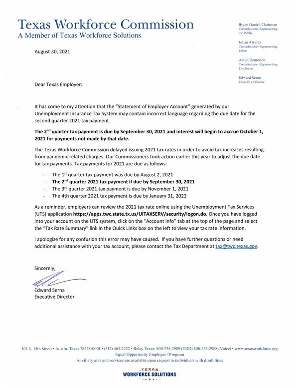 2nd Quarter Tax Rate Notice Clarification