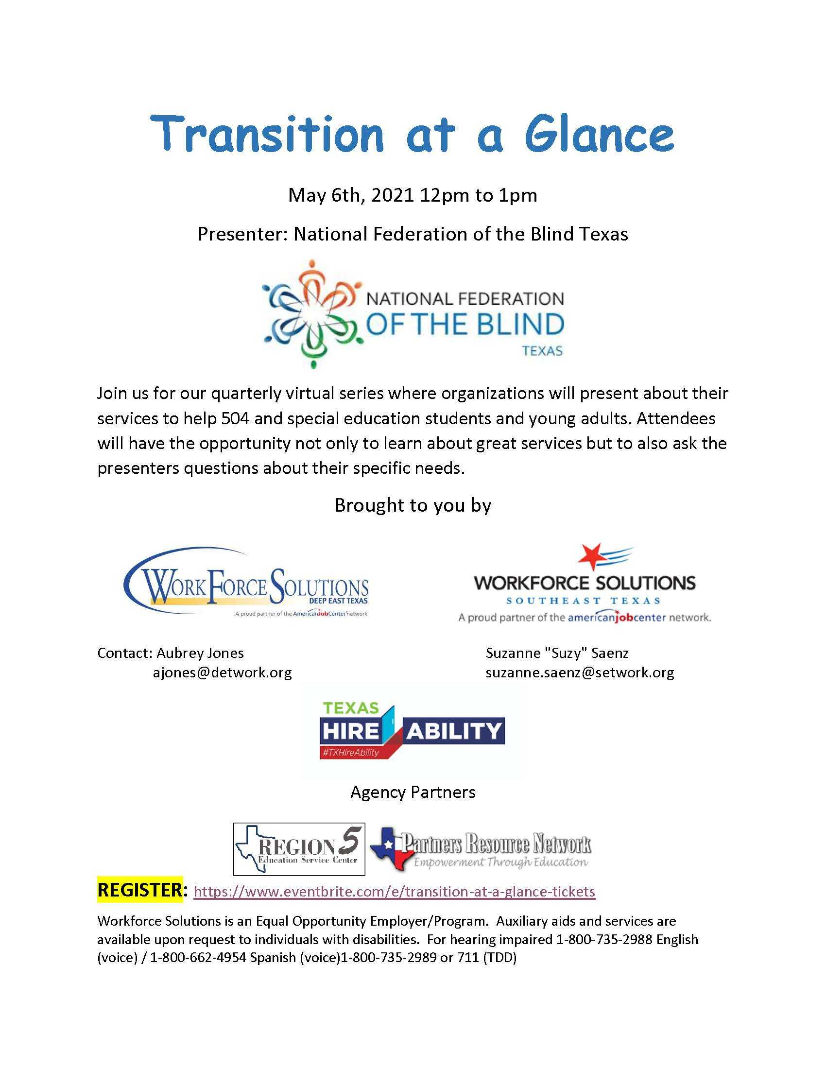 Resources for the Blind - Transition Series May 6